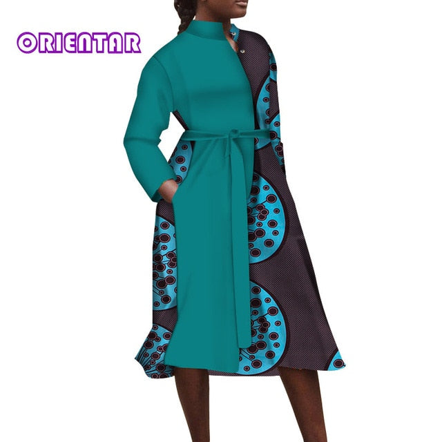 African Dresses for Women Bazin African Print Shirt Dress Long Sleeve Office Lady Elegant Party Maxi Dress with Belt
