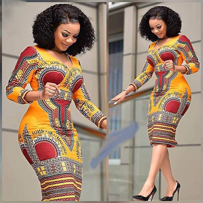 African Dresses for Women Dashiki Print 2019 News Tribal Ethnic Fashion V-neck Ladies Clothes Casual Sexy Dress fcol250