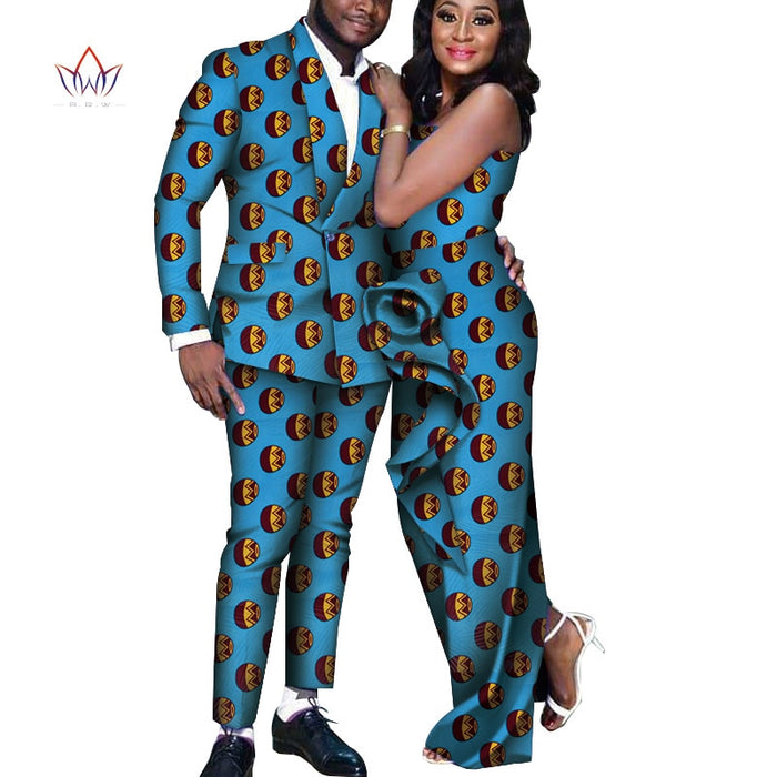 African Dresses for Women Long Draped Dresses Bazin Riche African Men Print Jacket and Pants Sets African Couple Clothes WYQ249