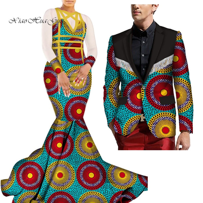 African Mermaid Bazin Riche Dresses for Couples Dashiki African Couple Clothing Women's Dress+Men's Blazer 2 Pieces Set WYQ275