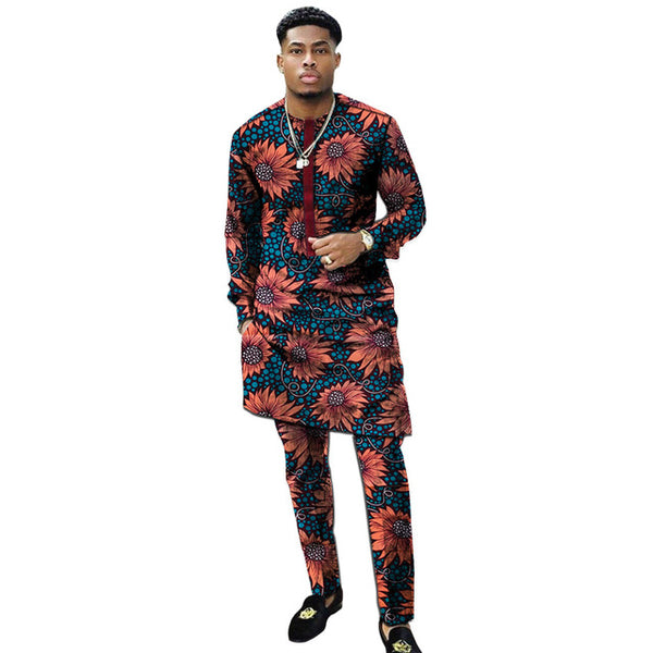 African Print Man Patchwork Shirt Fashion Pant Sets Dashiki Tops+Trousers Customized Men's Outfits For African Gatherings - African Clothing Online