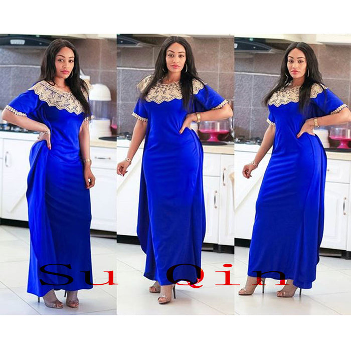 African Riche big Elastic Party Embroidery Dresses For Women Hot Selling Slim Sexy