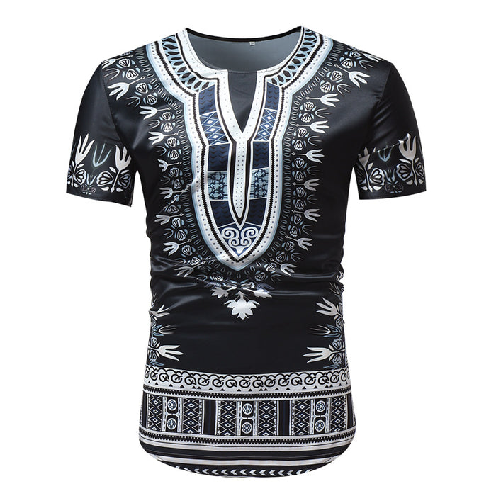 African T-shirts for Men Wax Ethnic Style Printed Short Sleeves Man Africa Dashiki Shirt