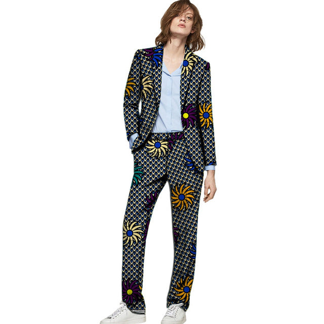 African clothes women print suits blazers with trousers Ankara fashion pant suits customized wedding female formal outfits - African Clothing Online