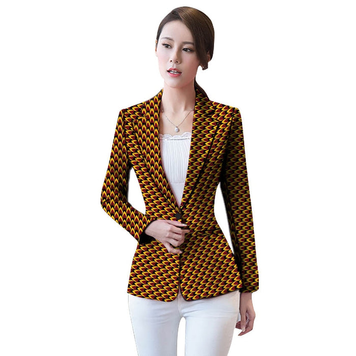 African clothing women's print blazers slim fit Ankara fashion suit jackets custom made wedding jackets formal outfit - African Clothing Online