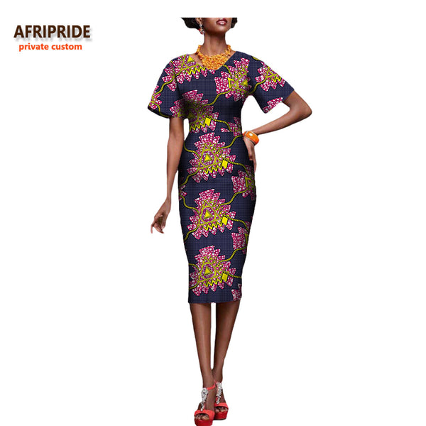 African dress for women sexy bazin riche femmal short sleeve women dress african clothes casual print cotton plus size A722604 - African Clothing Online