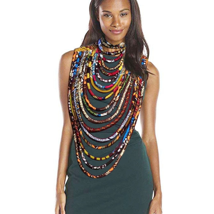 African fabric necklace for women print wax wrapped Ankara jewelry fashion ethnic jewelry layer necklace
