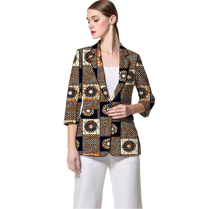 African print women blazers Three Quarter sleeve suit jacket custom for ladies female wedding wear formal outfit - African Clothing Online