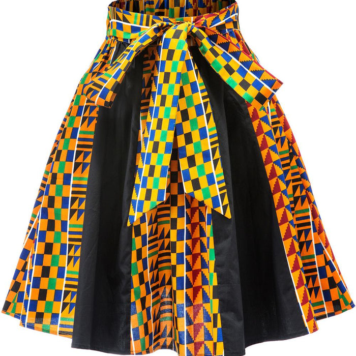 African women skirt new style fashion kente print casual traditional Dashiki Skirt