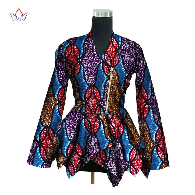 Autumn 2018 New African Print Wax Coat Dashiki Blazer Plus Size 6xl Africa Style Clothing for Women Crop Top Casual Coat WY3036 - African Clothing Online