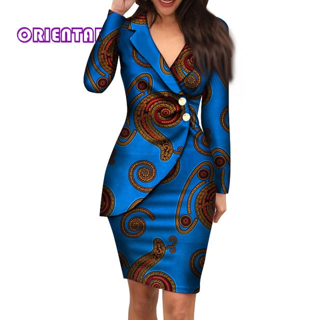 Autumn African Dresses for Women Fashion Office Style V-neck Long Sleeve Midi Dress Bazin Riche