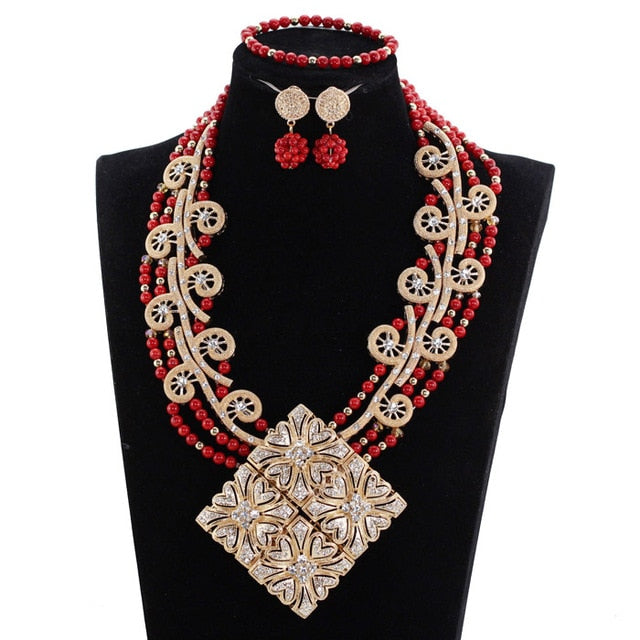 Big Luxury Real Coral Beads Wedding Jewelry Sets Wine Red African Coral Bridal Couple Jewelry Sets for Bride and Groom ABH711