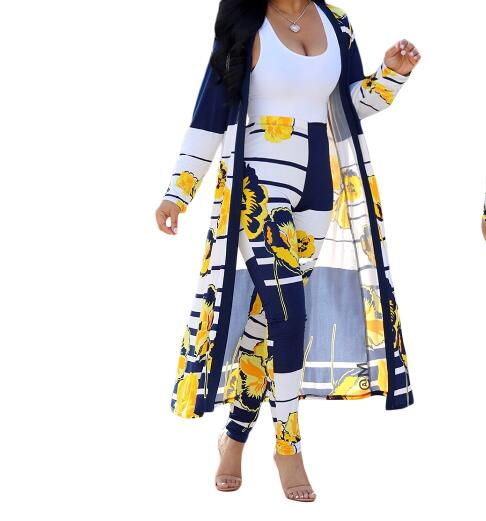 Blue Yellow Floral Print Sexy Two Piece Set Women Summer Full Sleeve Striped Maxi Open Stitch High Waist Long Trouser Outfit afcol252