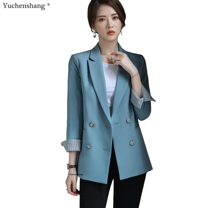 Bouble Breasted Solid Women Blazer With Pockets Female Coat Fashion blazers Outerwear high quality Jackets 5XL - African Clothing Online