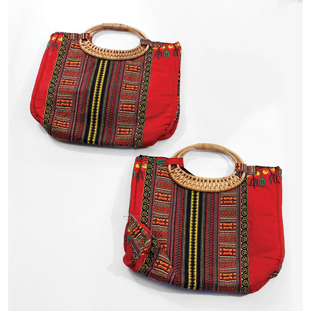 african-clothing-online,Tribal Print Wicker Handle Bag,African Clothing Online,handbag