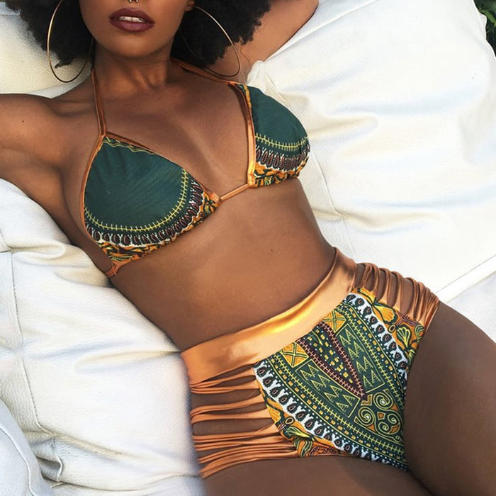 CROSSS1946 New African Print Two-Pieces Bath Suits Bikini Set Sexy Geometric Swimwear Swimsuit Gold High Waist Swimming Suit - African Clothing Online