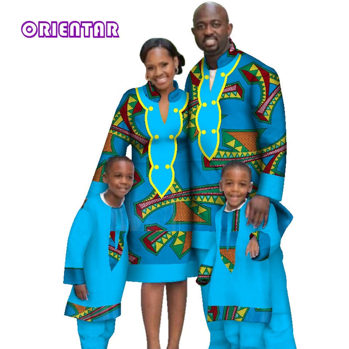 Casual Family Matching Clothes Father Mother Son Long Sleeve Men Top and Pants Sets Women Dress African Print Clothing afcol307