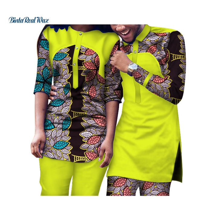 Causal African Wax Print Couples Clothes Bazin Men and Women 2 Piece Top and Pants Sets Traditional African Clothing WYQ106
