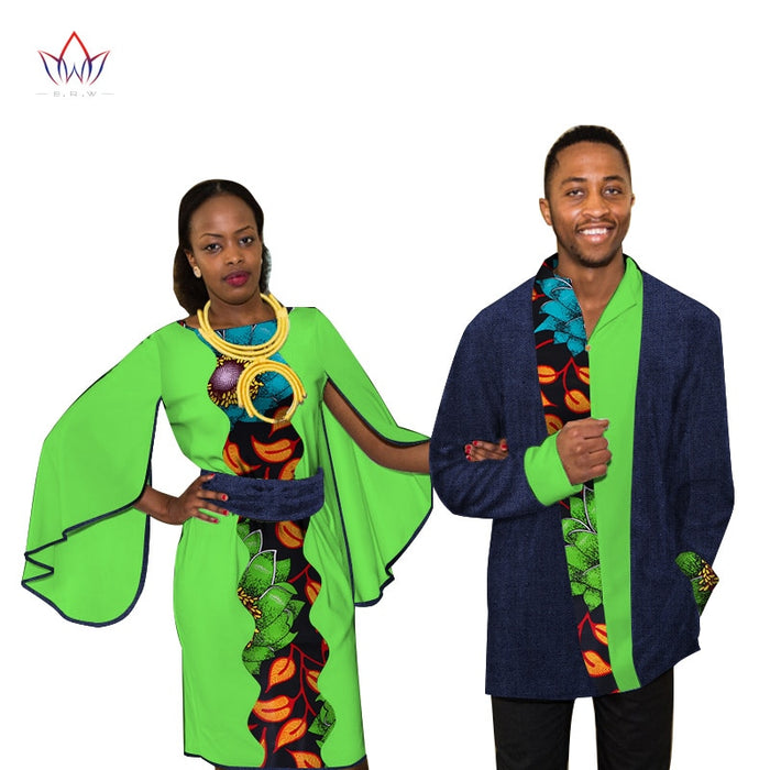 Dashiki Couples Clothes African Dresses for Women and Men Shirt African Clothes for Lovers Traditional African Clothing WYQ100