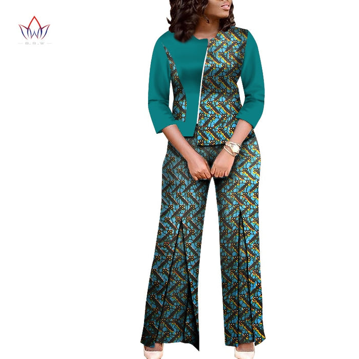 Dashiki For Women African bazin riche Summer african suits for women Top And Pants Set Traditional cotton Clothing none afcol132 - African Clothing Online