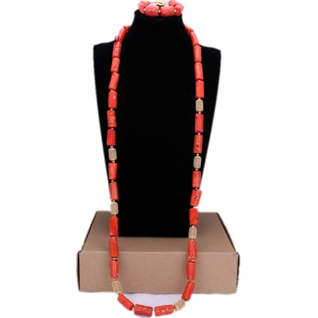 Dudo Jewelry African Men Coral Beads Jewelry Sets For Nigerian Weddings Genuine Coral Necklace Set Bracelet 2 Pics Free Ship