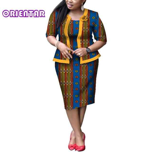 Elegant Women African Dresses African Wax Print Bazin Riche Coat and Dress with Traditional African Clothing Lady Outfits afcol298