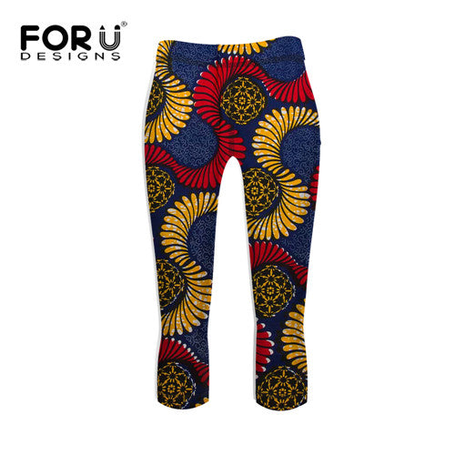 FORUDESIGNS Fashion African Prints Leggings Workout Women Skinny Elastic Pants Legging Ladies Workout Clothes Leggins for Women - African Clothing Online