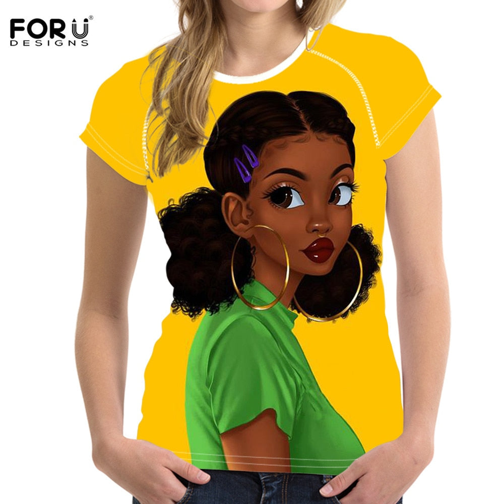 FORUDESIGNS Women T Shirts Casual Summer Clothes American African Black  Girl Art Design Students Girls Slim Tops Tee Shirts