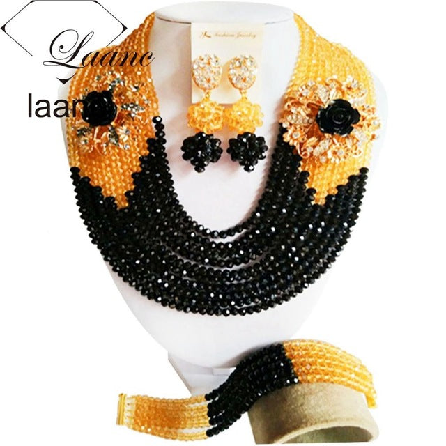 Fabulous Chocolate Brown Gold Champagne Crystal Nigerian Traditional Wedding African Beads Jewelry Set Free Shipping ABD397