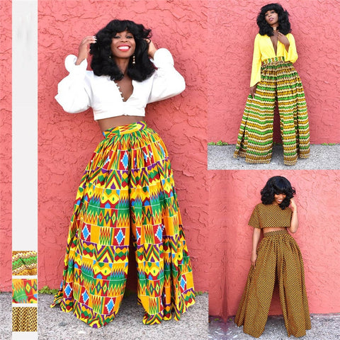 African New Ladies Clothes Dashiki Print Trousers Wide Legs