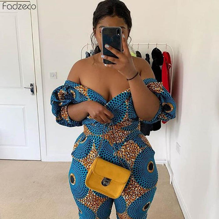 Fadzeco African Dress For Women Kanga Clothing 2019 Ankara Floral Wax Print V-Neck Backless