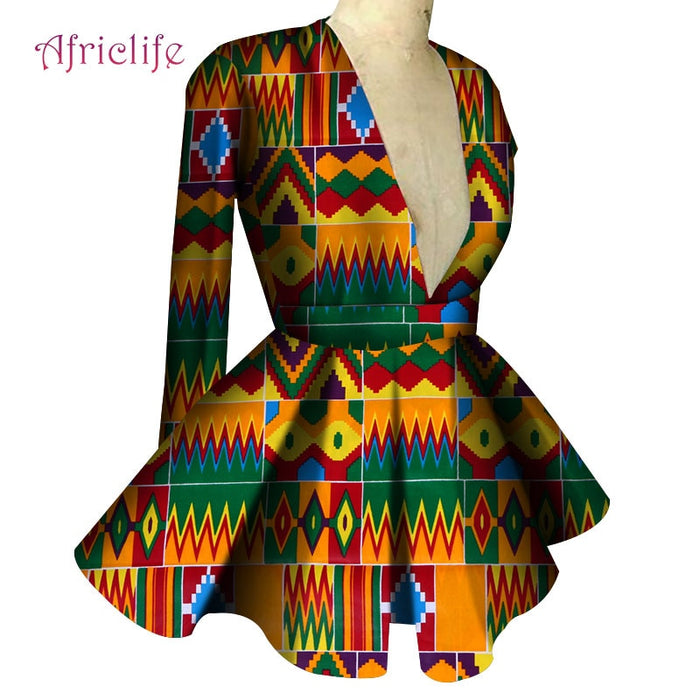 Fall Clothes for Women 18 Colors Slim High Waist Long Sleeve Sexy V Collar Lady Fashion Top African Dashiki Print Blouse afcol287