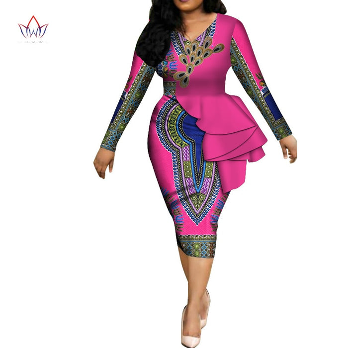 Fashion 2019 spring Africa Dresses for women vestidos Print Fabric Elegant Africa Clothes Ruffles African Clothing afcol223
