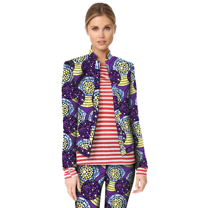 Fashion Africa Costume African Colorful Print Women Suit Jacket Africa Festive Ladies Long Sleeve Tailored Blazers For Party - African Clothing Online