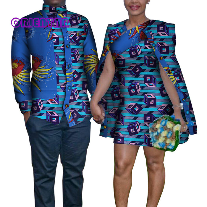 Fashion African Clothes for Couple Men Long Sleeve Shirt Women Dress With Shawl Short Skirt Casual Matching Lover Clothes WYQ184