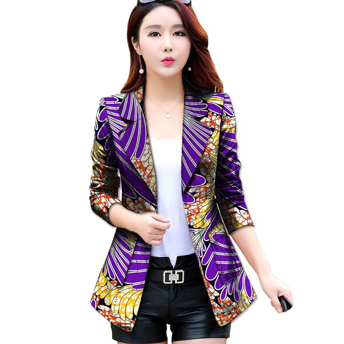 Fashion African Print Women Suit Jacket Africa Festive Ladies Long Sleeve Tailored Blazers Jacket  Party Cutomize Africa Costume - African Clothing Online