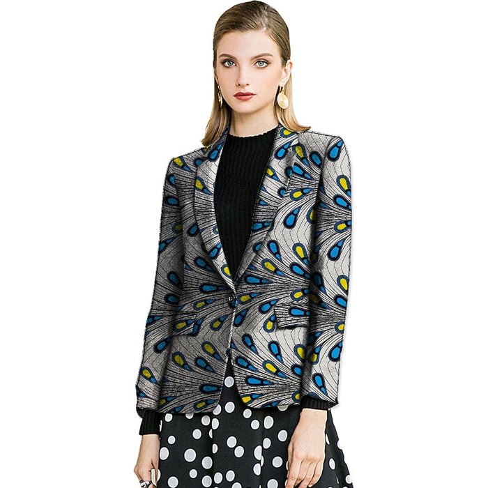 Fashion African print women's blazers fashion dashiki clothing business design Ankara suit jacket custom for ladies - African Clothing Online