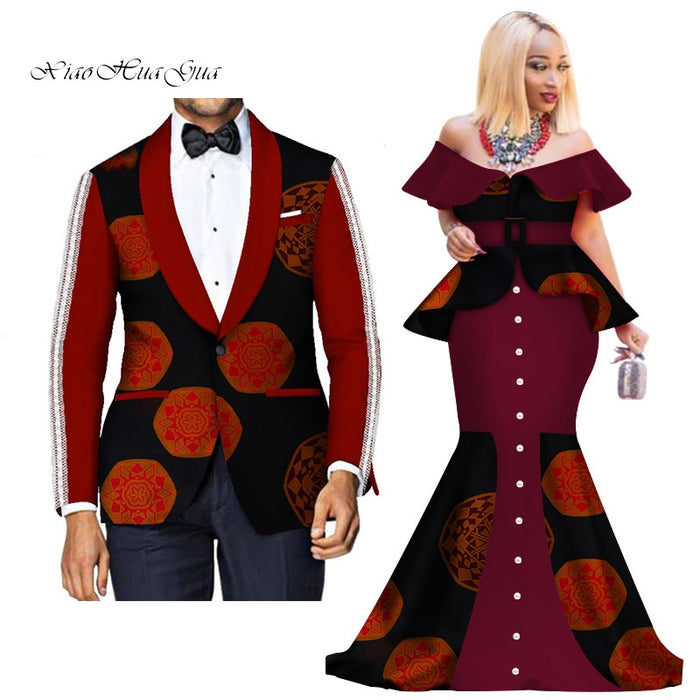 Fashion Custom African Couple Wedding Clothing Dashiki Women Skirt & Men Blazer for Lovers African Traditional Clothing WYQ276