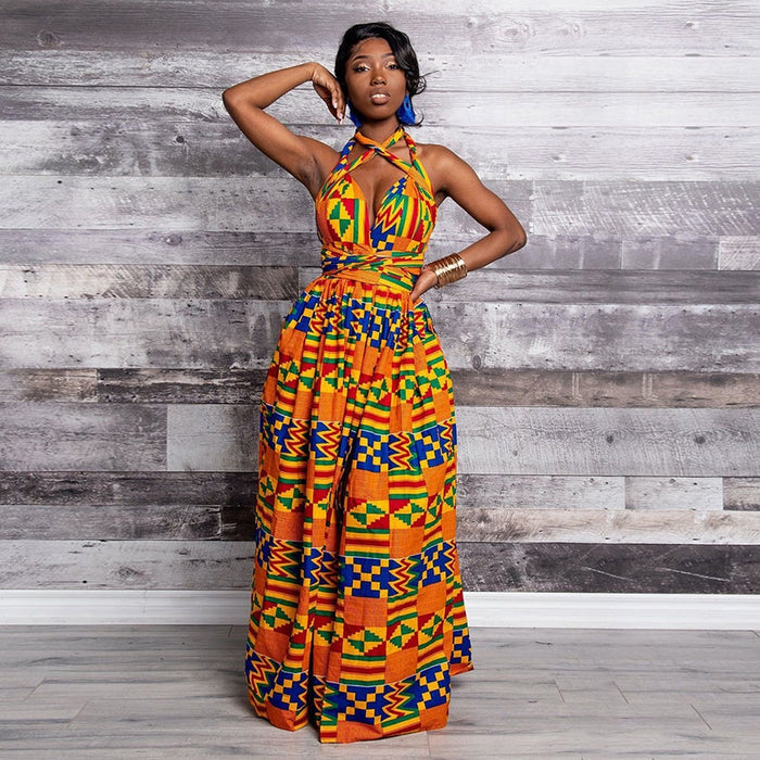 Fashion Elastic Maxi Dress 2019 News Long Robe African Dresses for Women Bazin Riche Clothes Vestidos Dashiki Party Vacation afcol233