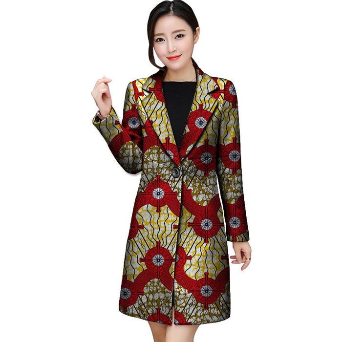 Fashion Simple And Generou Long Blazers African Print Women Suit Jacket Africa Festive Ladies Blazers Coat Party Cutomize - African Clothing Online