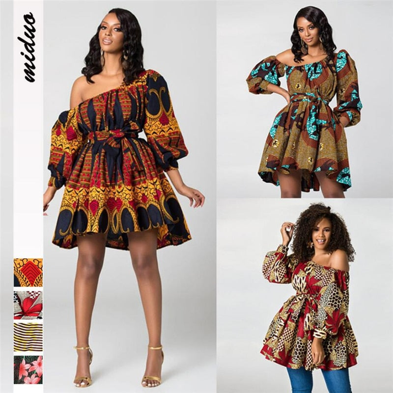 Fashion African Dress Of Women New 2019 Loose Hot Sexy One Shoulder Dress Ladies Club Party Bandage Africa Clothing Wholesale African Clothing Online