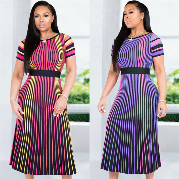 GuyuEra African Dresses For Women Sexy European and American Color Stripes Short Sleeves Round Neck Slimming Long Skirt