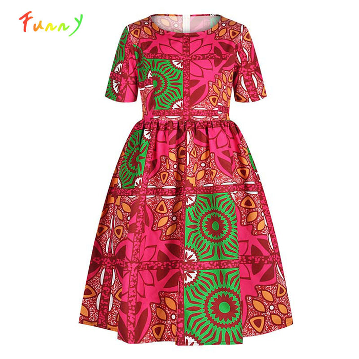Dashiki African Kids Girls Dress Summer 2020 Short Sleeve Children's Dresses Robe Fille Traditional Printed
