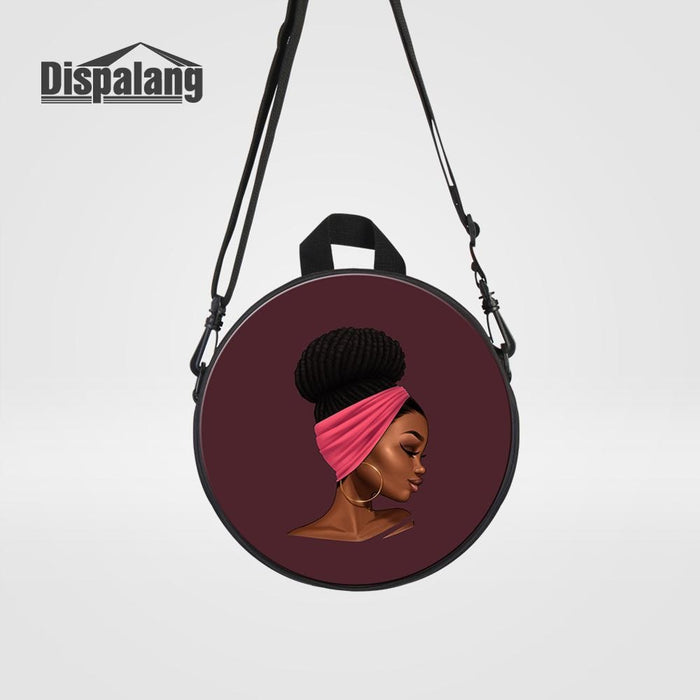 Dispalang Mini Round Bagpack African Girl Printed Messenger Bag For School Women Crossbody Handbag Kids Multufuncional Schoolbag