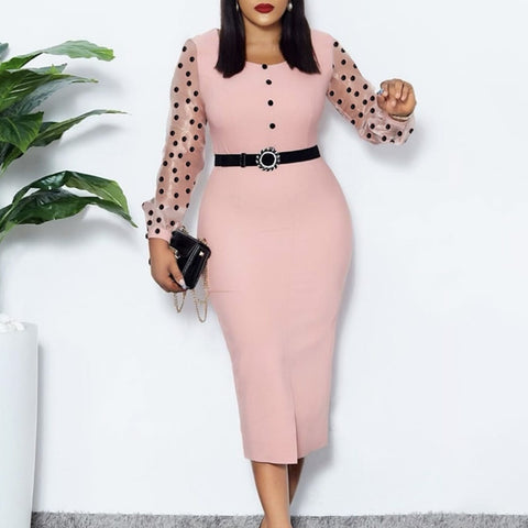 Pink Dress O Neck Transparent Mesh Long Sleeves Polka Dot Classy Women Elastic Elegant Office Lady