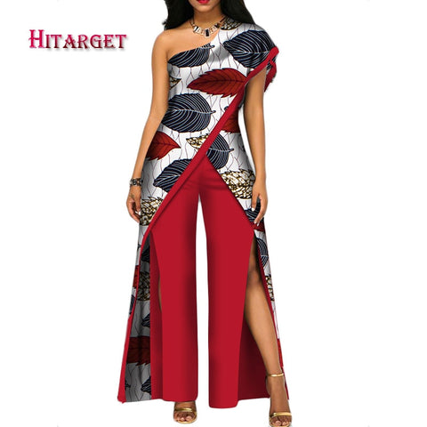 2020 new autumn African Pant set for women sexy off shoulder Jumpsuit dashiki clothing batik wax printing print cotton afcol403b