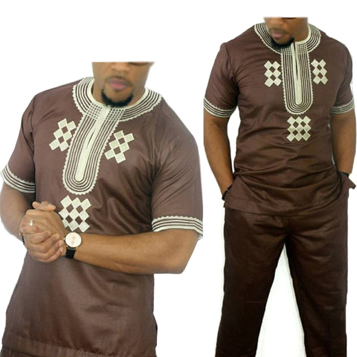 dashiki men african mens suits tops shirts pant 2 pieces set  3xl 4xl