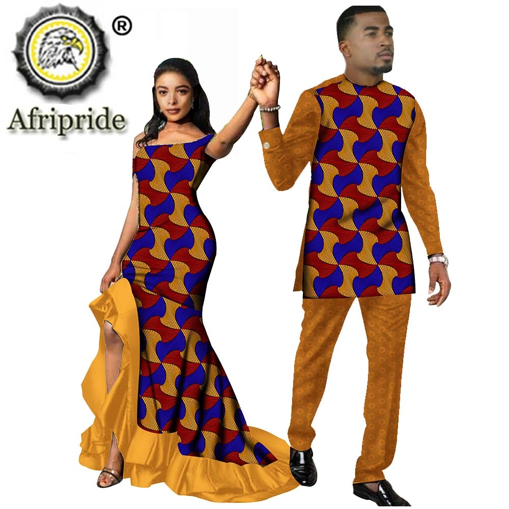 African Couple Outfits Men And Women Matching Clothing Wear Wedding Party Wax Print Fashion Design Traditional African Clothing Online