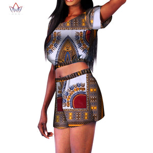 African Clothes Pus Size Clothing For Women Summer 2 Pcs Set Wax Top And Pant Women Cotton Suits African Women Clothing  afcol384