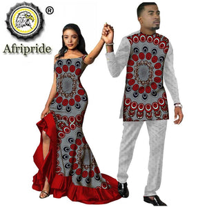 African Couple Outfits Men and Women Matching Clothing Wear Wedding Party Wax Print Fashion Design Traditional AFRIPRIDE S20C009